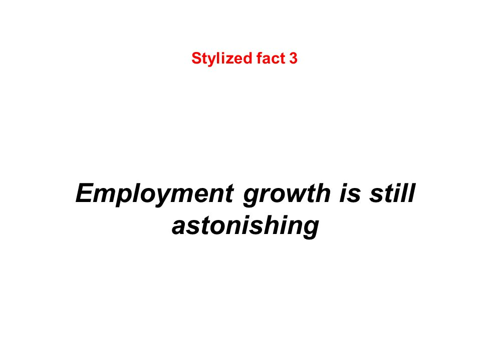 Stylized fact 3 Employment growth is still astonishing