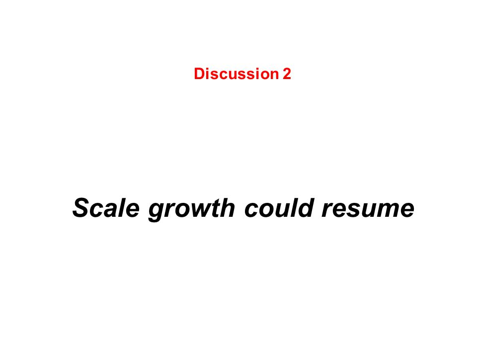 Discussion 2 Scale growth could resume