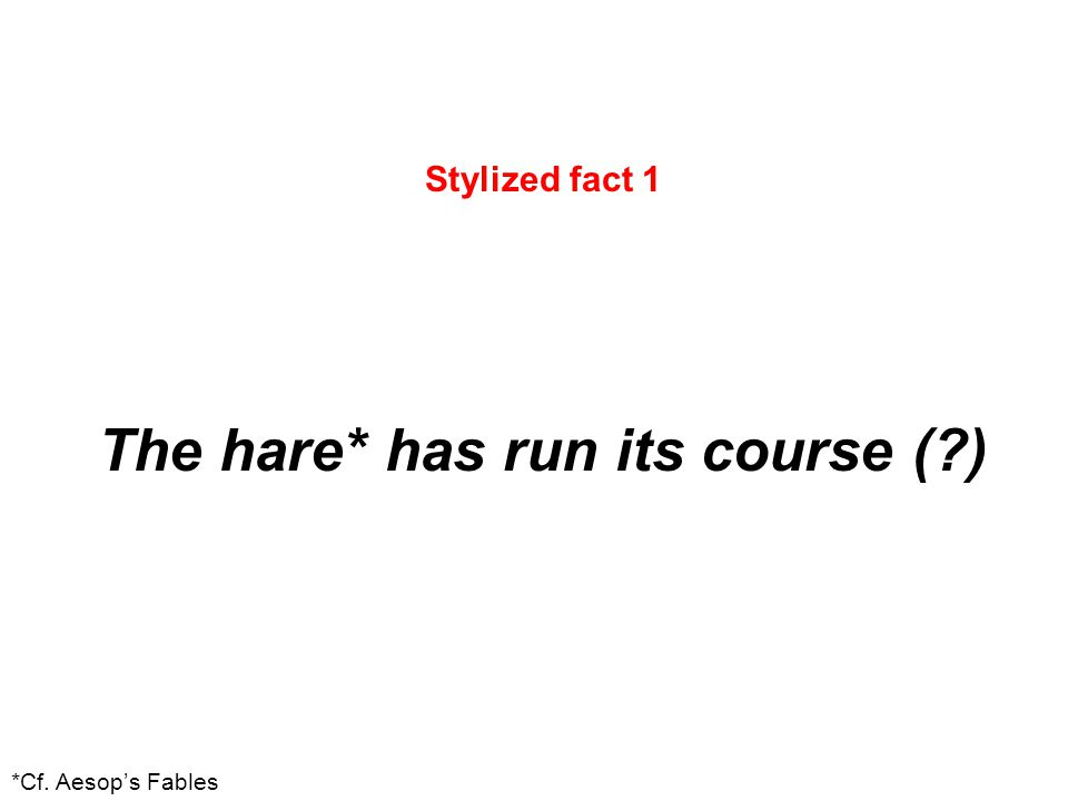 Stylized fact 1 The hare* has run its course (?) *Cf. Aesop's Fables