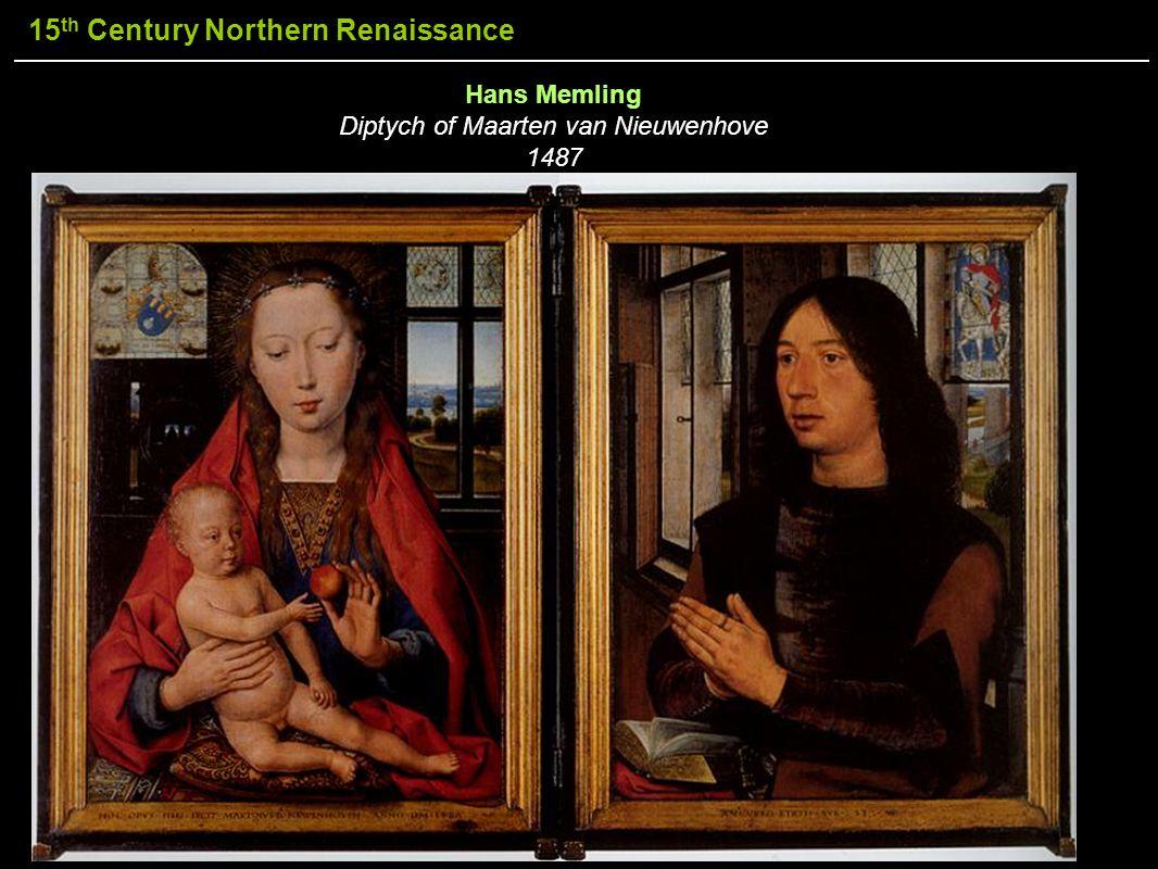 15 th Century Northern Renaissance Hans Memling Diptych of Maarten van Nieuwenhove 1487