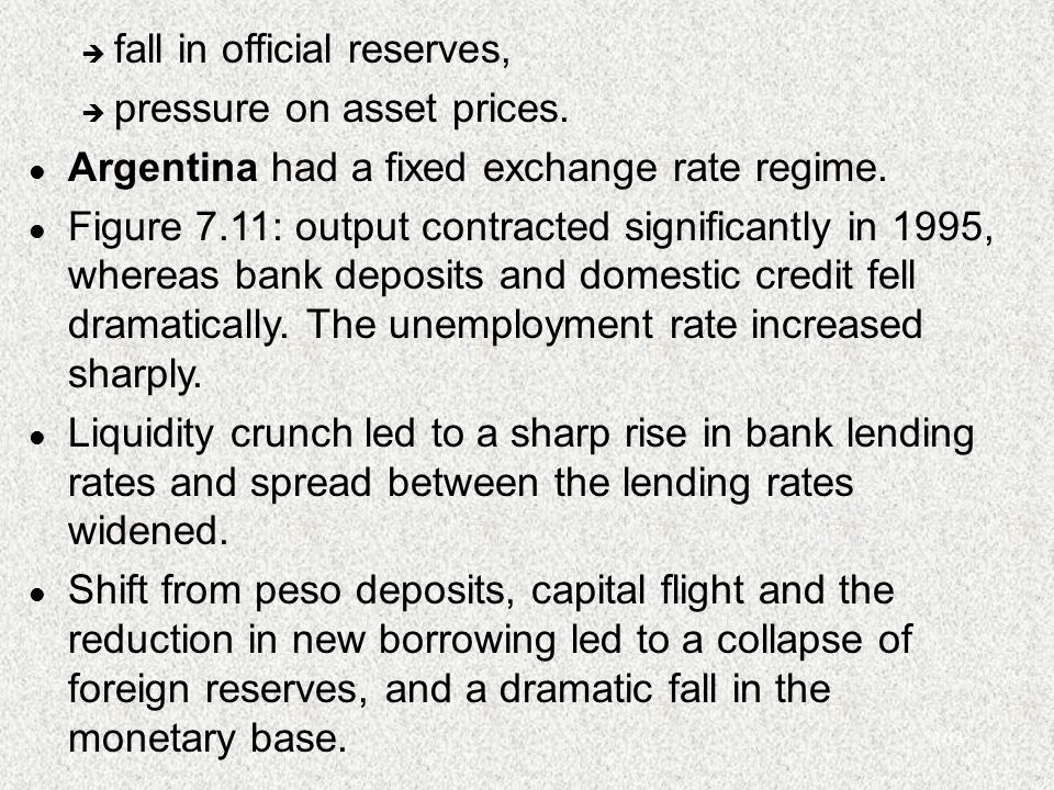 103 è fall in official reserves, è pressure on asset prices. l Argentina had a fixed exchange rate regime. l Figure 7.11: output contracted significan