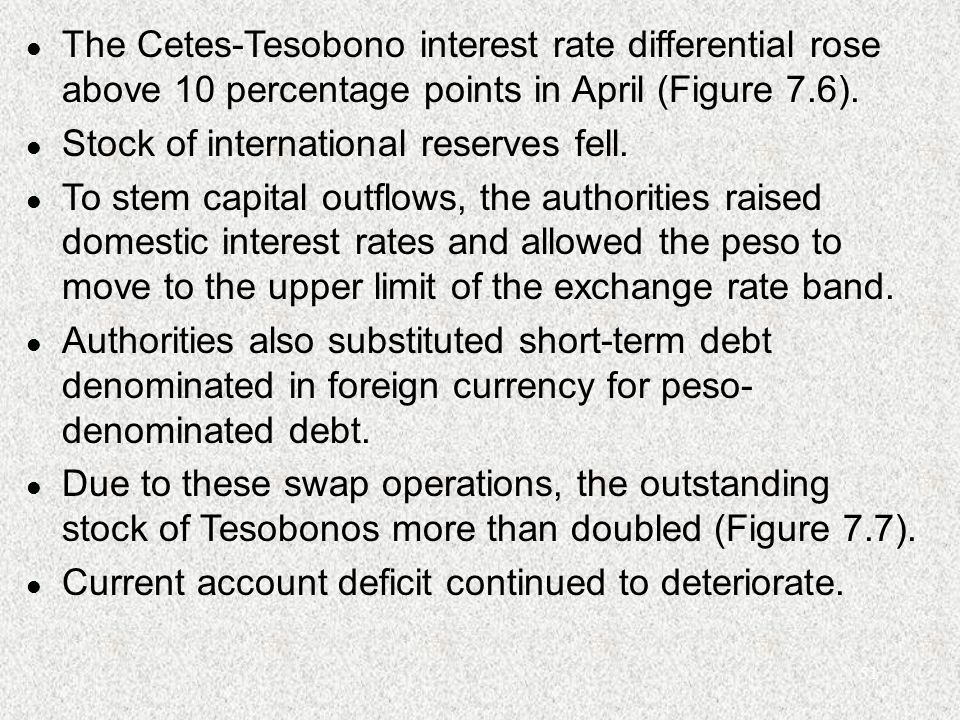 51 l The Cetes-Tesobono interest rate differential rose above 10 percentage points in April (Figure 7.6).