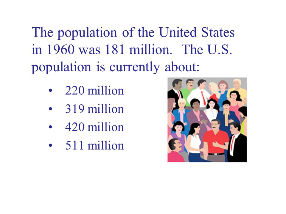 The population of the United States in 1960 was 181 million.