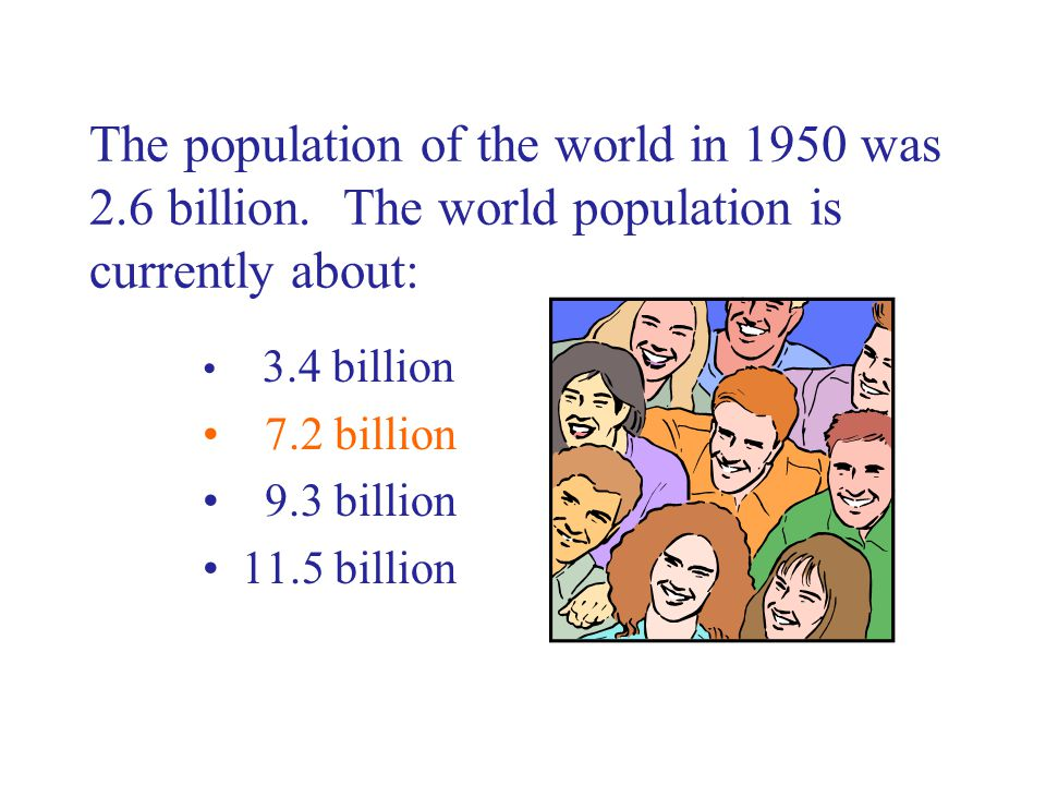 The population of the world in 1950 was 2.6 billion.