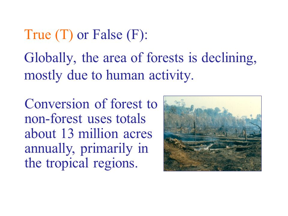 Conversion of forest to non-forest uses totals about 13 million acres annually, primarily in the tropical regions.
