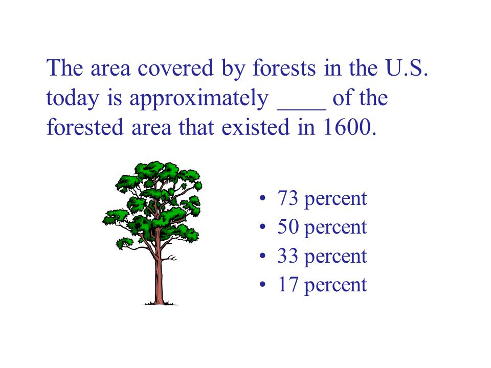 The area covered by forests in the U.S.