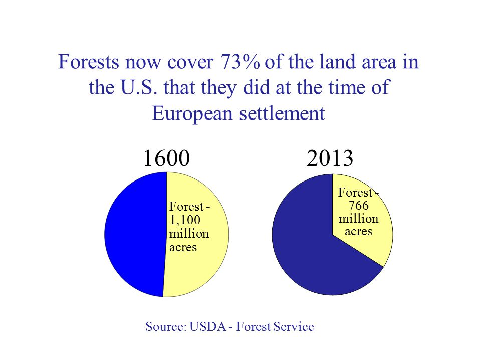 Forests now cover 73% of the land area in the U.S.
