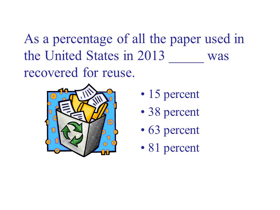 As a percentage of all the paper used in the United States in 2013 _____ was recovered for reuse.
