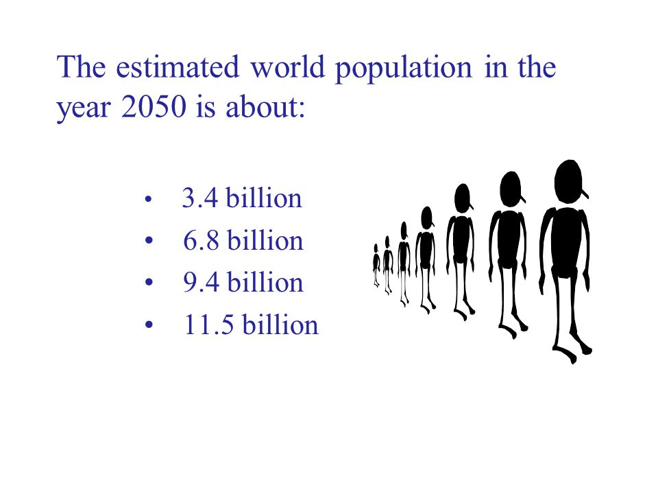 The estimated world population in the year 2050 is about: 3.4 billion 6.8 billion 9.4 billion 11.5 billion