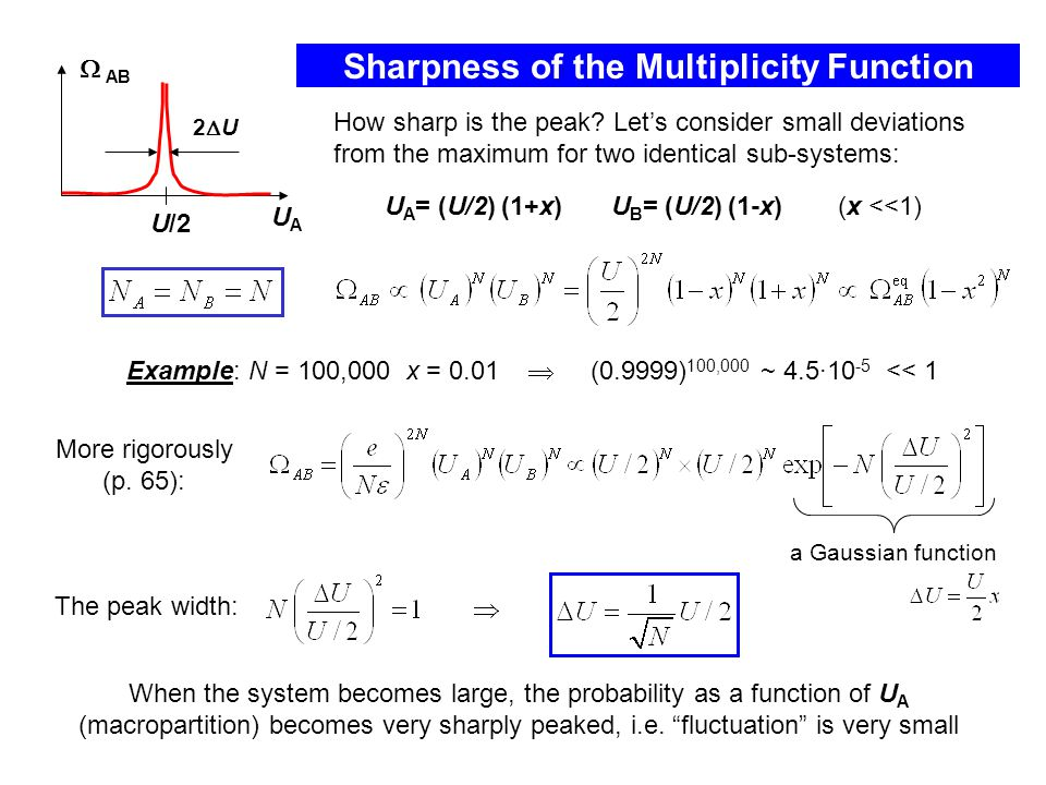 Sharpness of the Multiplicity Function Example: N = 100,000 x = 0.01  (0.9999) 100,000 ~ 4.5·10 -5 << 1 How sharp is the peak.
