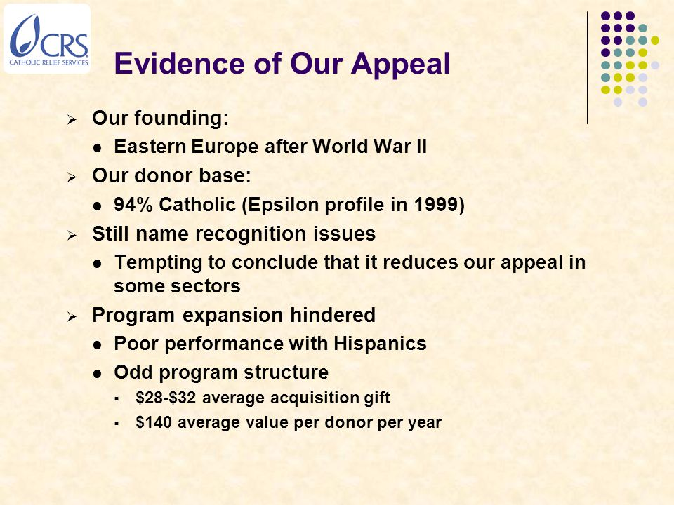 Evidence of Our Appeal  Our founding: Eastern Europe after World War II  Our donor base: 94% Catholic (Epsilon profile in 1999)  Still name recogni