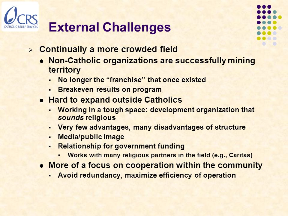 External Challenges  Continually a more crowded field Non-Catholic organizations are successfully mining territory  No longer the franchise that once existed  Breakeven results on program Hard to expand outside Catholics  Working in a tough space: development organization that sounds religious  Very few advantages, many disadvantages of structure  Media/public image  Relationship for government funding  Works with many religious partners in the field (e.g., Caritas) More of a focus on cooperation within the community  Avoid redundancy, maximize efficiency of operation