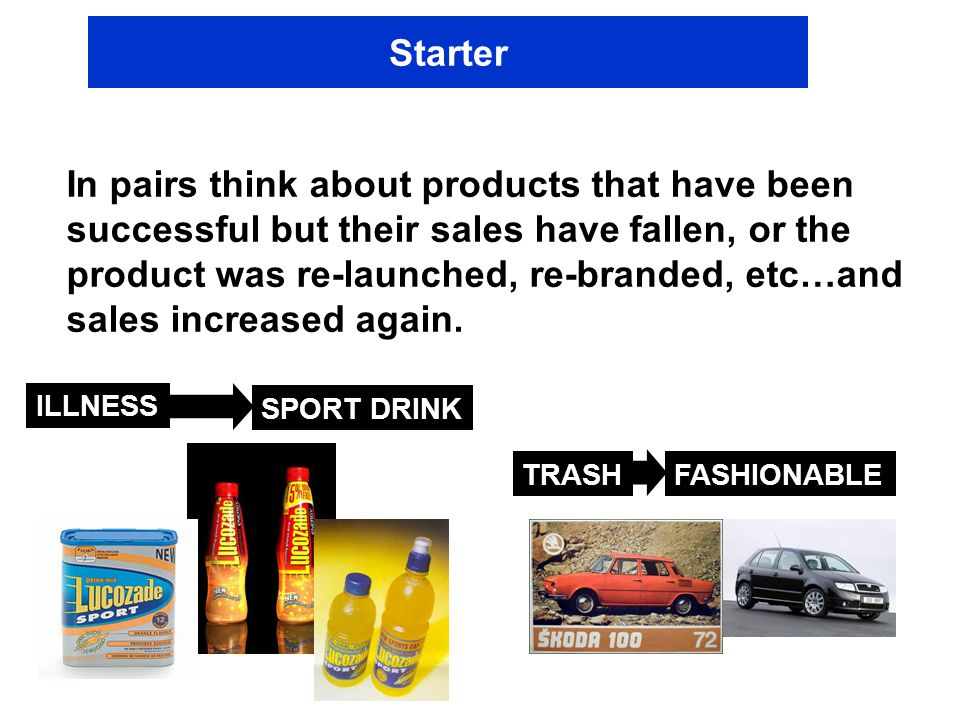 Starter In pairs think about products that have been successful but their sales have fallen, or the product was re-launched, re-branded, etc…and sales increased again.
