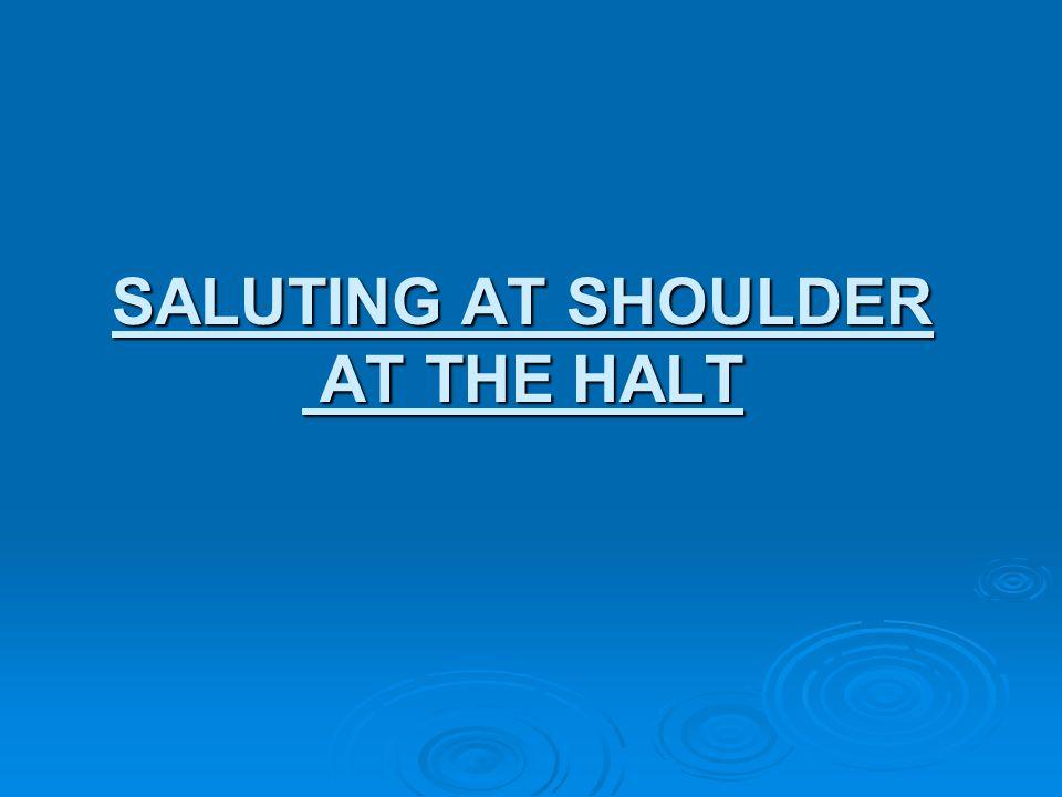 SALUTING AT SHOULDER AT THE HALT