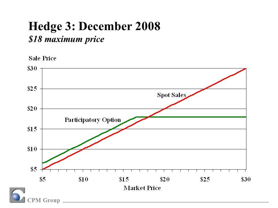 CPM Group Hedge 3: December 2008 $18 maximum price