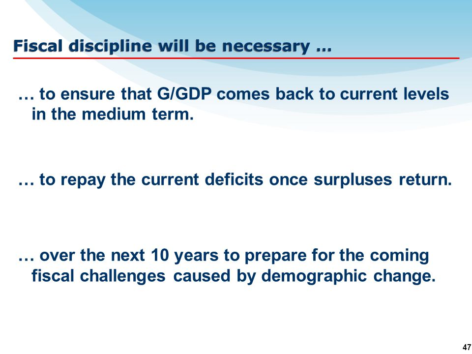 47 … to ensure that G/GDP comes back to current levels in the medium term.