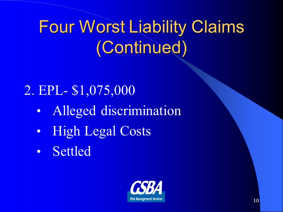 Four Worst Liability Claims (Continued) 2.