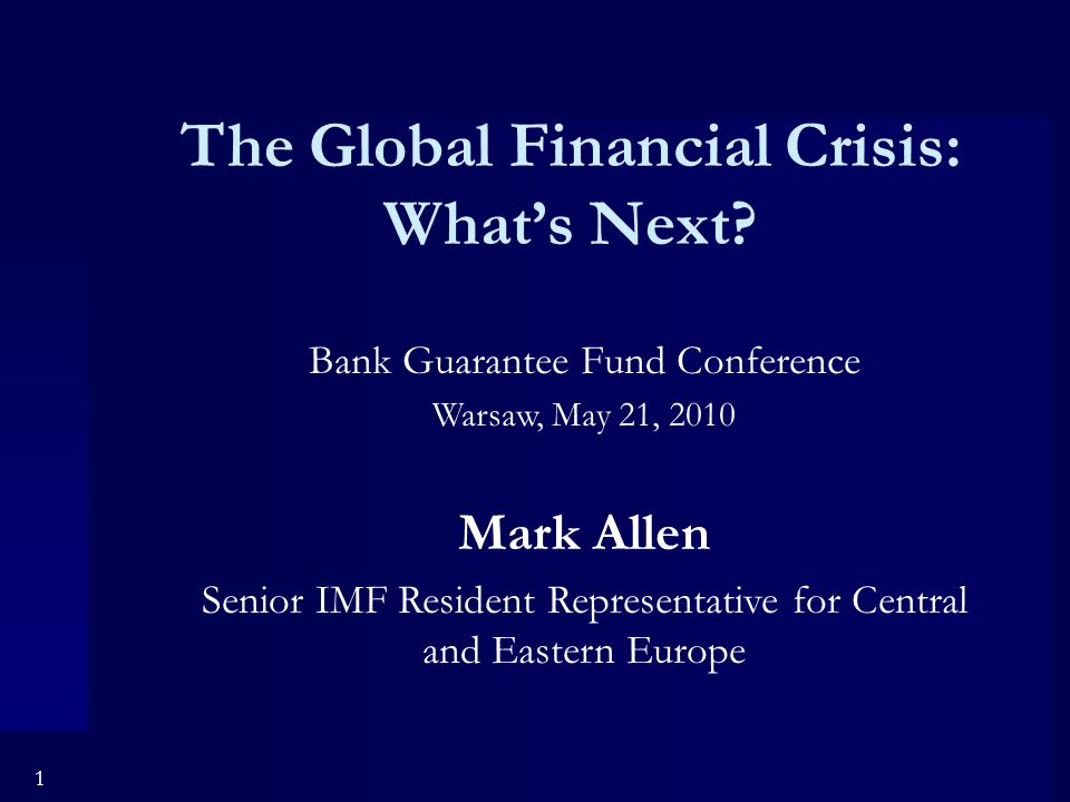 1 The Global Financial Crisis: What's Next.