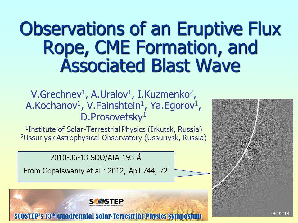 2010 June 13 Event A number of aspects were previously addressed by: 1.Patsourakos, Vourlidas, Stenborg: 2010, ApJL 724, L188 2.Kozarev et al.: 2011, ApJL 733, L25 3.Ma et al.: 2011, ApJ 738, 160 4.Gopalswamy et al.: 2012, ApJ 744, 72 5.Downs et al.: 2012, ApJ 750, 134 6.Eselevich & Eselevich: 2012, ApJ 761, 68 7.Vasanth et al.: 2014, Solar Phys.