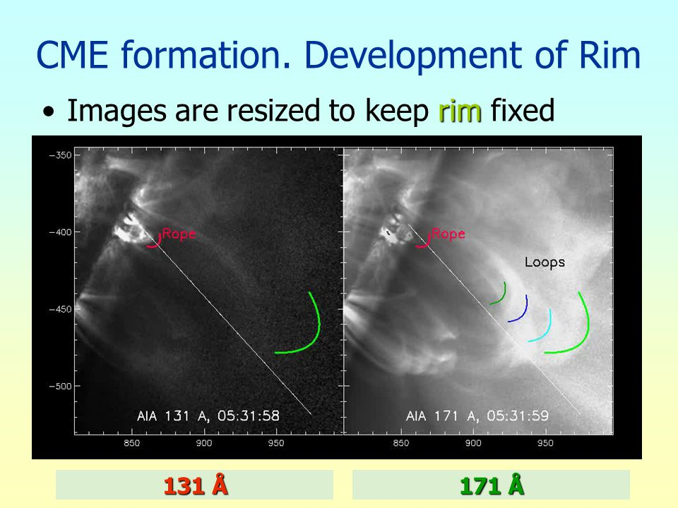 CME formation. Development of Rim rimImages are resized to keep rim fixed 131 Å 171 Å