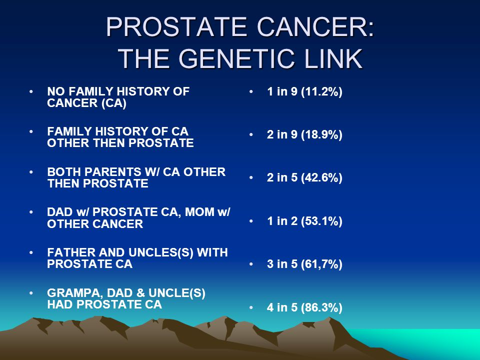 PROSTATE CANCER: THE GENETIC LINK NO FAMILY HISTORY OF CANCER (CA) FAMILY HISTORY OF CA OTHER THEN PROSTATE BOTH PARENTS W/ CA OTHER THEN PROSTATE DAD w/ PROSTATE CA, MOM w/ OTHER CANCER FATHER AND UNCLES(S) WITH PROSTATE CA GRAMPA, DAD & UNCLE(S) HAD PROSTATE CA 1 in 9 (11.2%) 2 in 9 (18.9%) 2 in 5 (42.6%) 1 in 2 (53.1%) 3 in 5 (61,7%) 4 in 5 (86.3%)