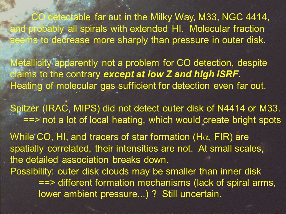 Conclusions 1 CO detectable far out in the Milky Way, M33, NGC 4414, and probably all spirals with extended HI.