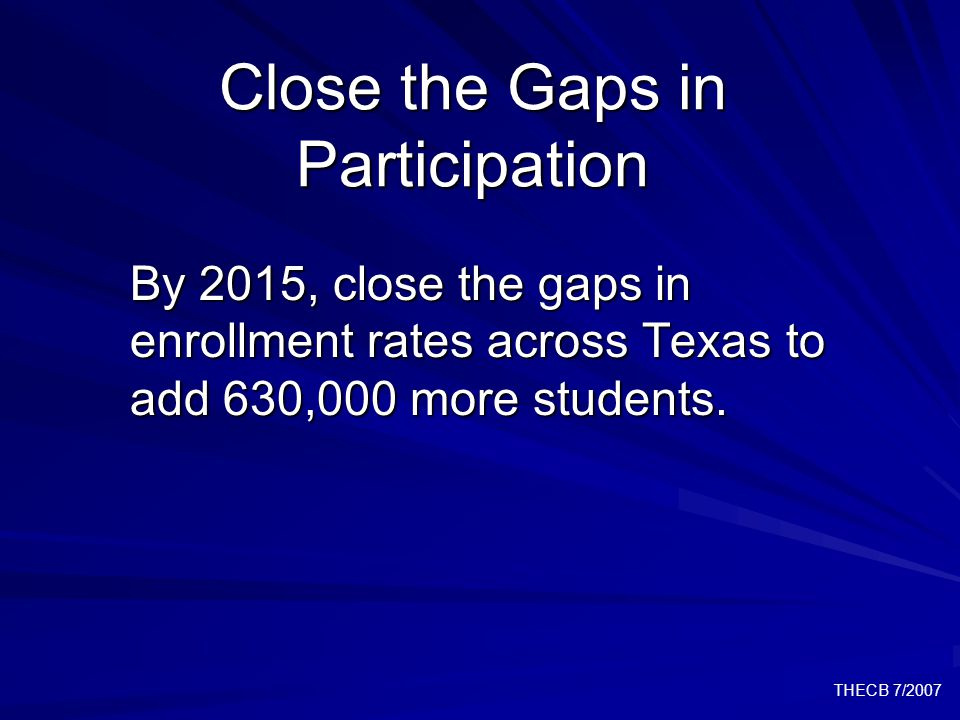 THECB 7/2007 Close the Gaps in Research By 2015, increase the level of federal science and engineering research funding to Texas institutions to 6.5% of obligations to higher education.