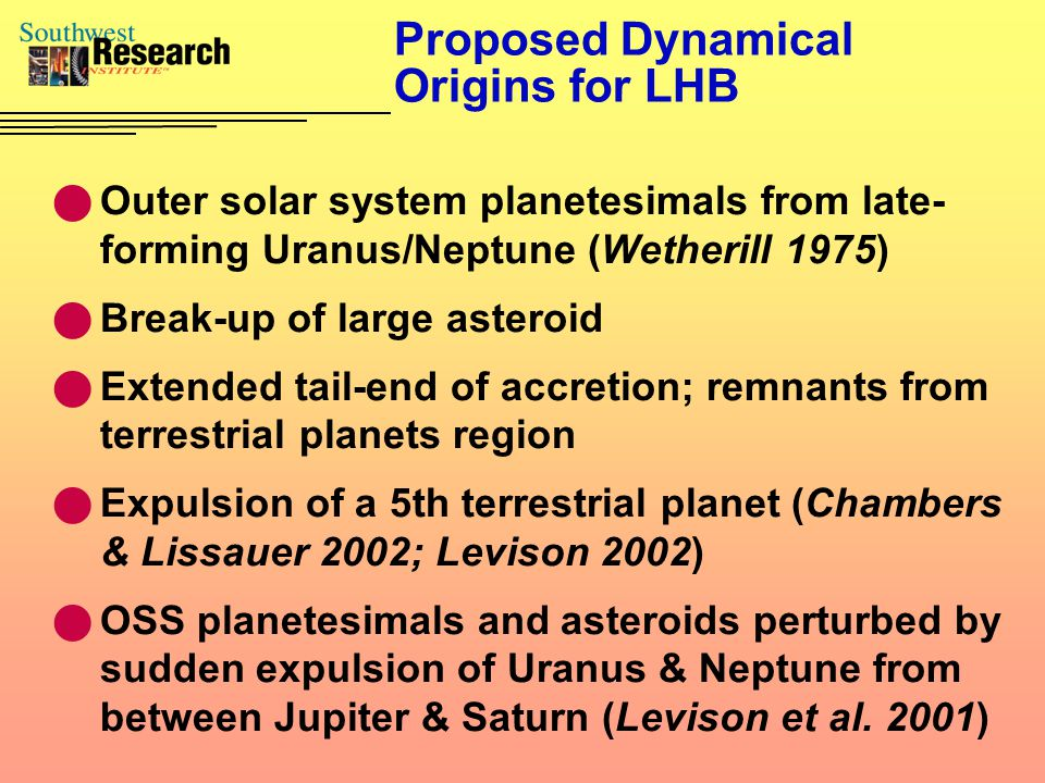 Proposed Dynamical Origins for LHB Outer solar system planetesimals from late- forming Uranus/Neptune (Wetherill 1975) Break-up of large asteroid Extended tail-end of accretion; remnants from terrestrial planets region Expulsion of a 5th terrestrial planet (Chambers & Lissauer 2002; Levison 2002) OSS planetesimals and asteroids perturbed by sudden expulsion of Uranus & Neptune from between Jupiter & Saturn (Levison et al.