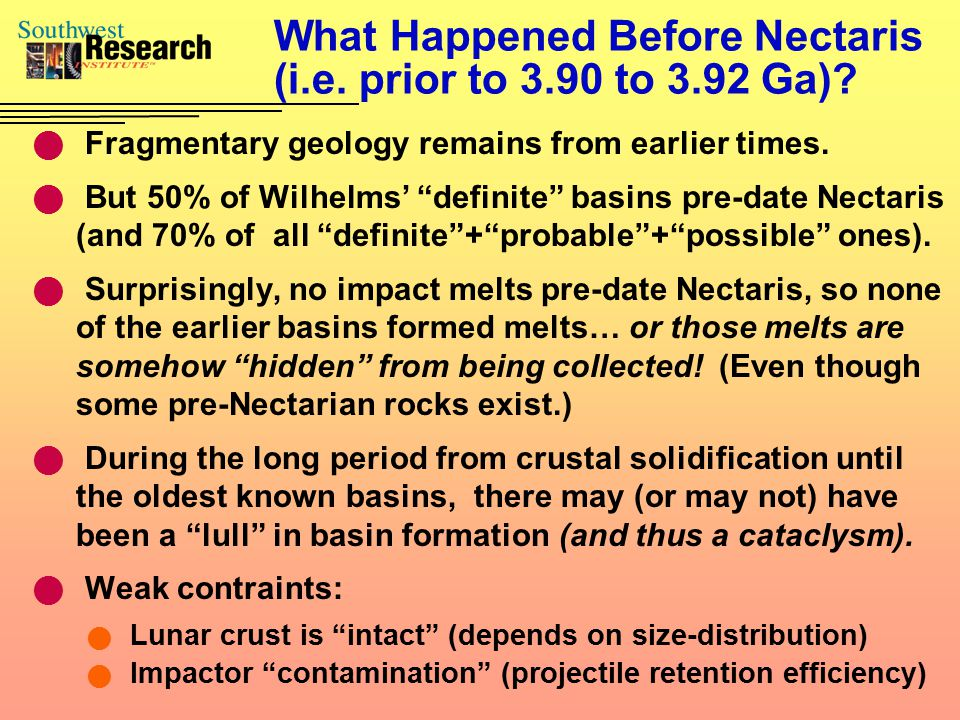 """What Happened Before Nectaris (i.e. prior to 3.90 to 3.92 Ga)? Fragmentary geology remains from earlier times. But 50% of Wilhelms' """"definite"""" basins"""