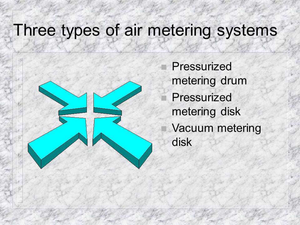 Three types of air metering systems n Pressurized metering drum n Pressurized metering disk n Vacuum metering disk