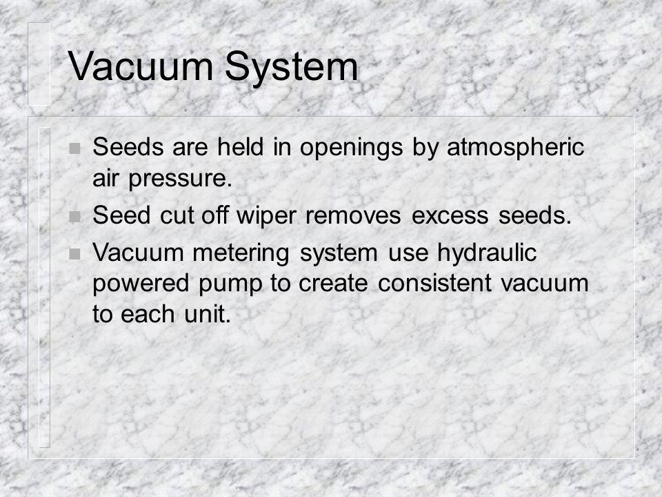 n Seeds are held in openings by atmospheric air pressure.