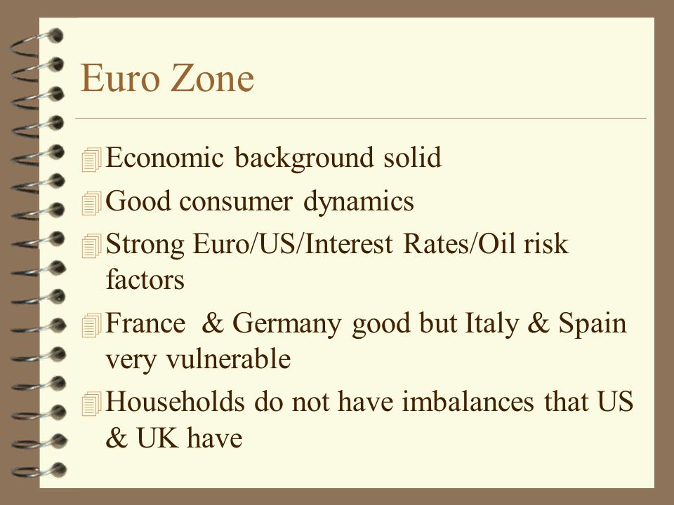 Euro Zone 4 Economic background solid 4 Good consumer dynamics 4 Strong Euro/US/Interest Rates/Oil risk factors 4 France & Germany good but Italy & Spain very vulnerable 4 Households do not have imbalances that US & UK have