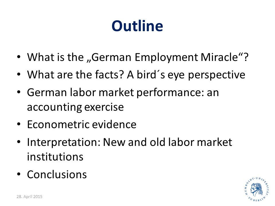 """Explanations: Summary Kurzarbeit (short-time work): Not exceptional Concession bargaining (Arbeitszeitkorridore): not exceptional Working time accounts (Arbeitszeitkonten) as senior firm liability: important as a substitute for government subsidized short-time) Wage moderation: Yes, possibly influenced by the Hartz reforms We can explain 60% of the """"miracle with wage moderation and low employment growth in previous boom –the rest looks like regime change 28."""