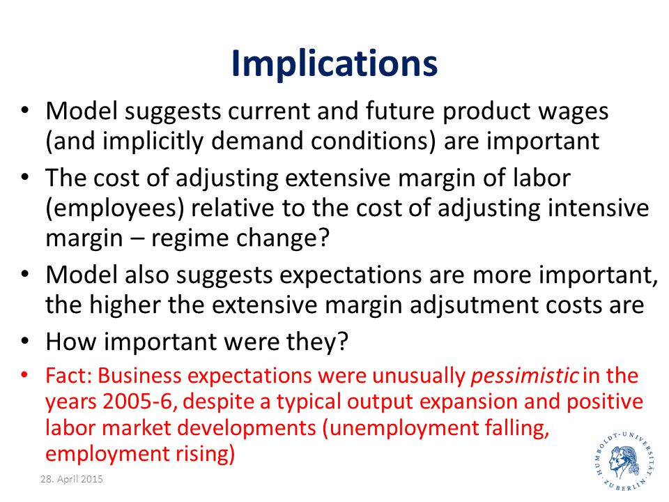 Implications Model suggests current and future product wages (and implicitly demand conditions) are important The cost of adjusting extensive margin o