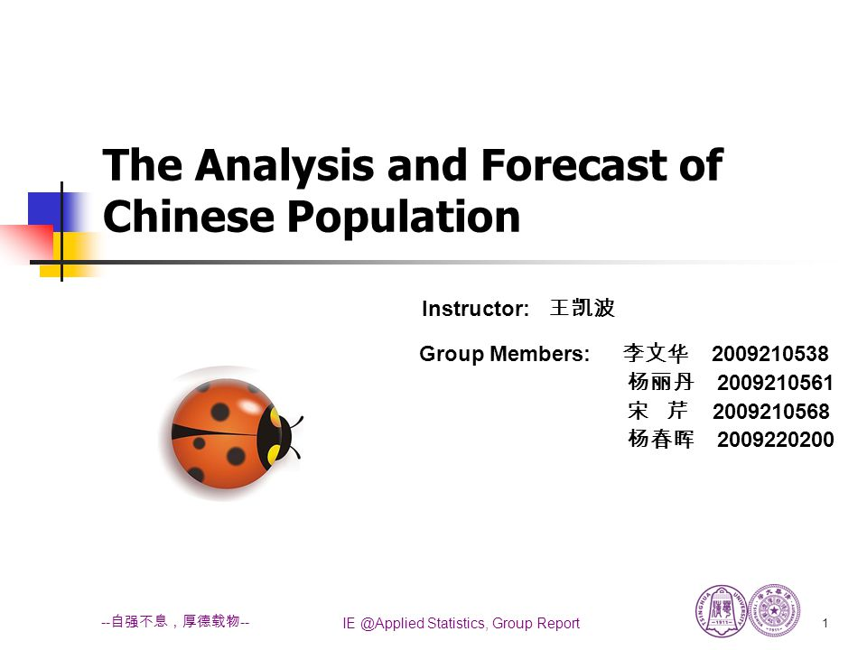 IE @Applied Statistics, Group Report 2 -- 自强不息,厚德载物 -- OUTLINE PART 1:Introduction (Background, Objective, Terminology ) PART 2:Descriptive Analysis PART 3:Hypothesis Test of Male-Female Birth Rate (Descriptive date, Exploratory date, Cause analysis) PART 4: Fertility Comparison (Descriptive date, Exploratory date, Cause analysis) PART 5:Analysis of Ratio (Descriptive date, Exploratory date, Cause analysis) PART 6:Analysis of Dead Rate (Descriptive date, Exploratory date, Cause analysis) PART 7:Time Series Analysis of Total Population Size (Trend analysis, Model based analysis) PART 8: Conclusion