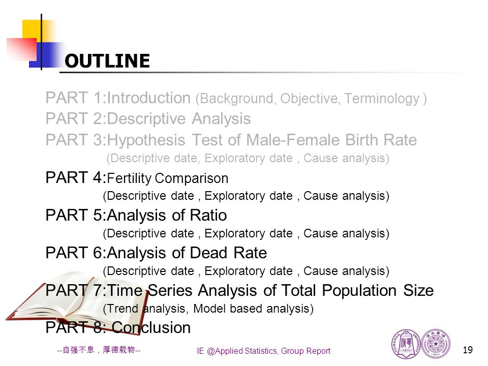 IE @Applied Statistics, Group Report 19 -- 自强不息,厚德载物 -- OUTLINE PART 1:Introduction (Background, Objective, Terminology ) PART 2:Descriptive Analysis PART 3:Hypothesis Test of Male-Female Birth Rate (Descriptive date, Exploratory date, Cause analysis) PART 4: Fertility Comparison (Descriptive date, Exploratory date, Cause analysis) PART 5:Analysis of Ratio (Descriptive date, Exploratory date, Cause analysis) PART 6:Analysis of Dead Rate (Descriptive date, Exploratory date, Cause analysis) PART 7:Time Series Analysis of Total Population Size (Trend analysis, Model based analysis) PART 8: Conclusion
