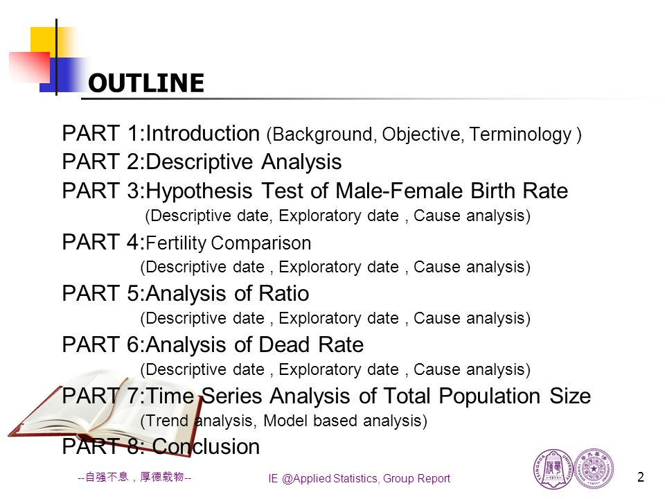 IE @Applied Statistics, Group Report 23 -- 自强不息,厚德载物 -- OUTLINE PART 1:Introduction (Background, Objective, Terminology ) PART 2:Descriptive Analysis PART 3:Hypothesis Test of Male-Female Birth Rate (Descriptive date, Exploratory date, Cause analysis) PART 4: Fertility Comparison (Descriptive date, Exploratory date, Cause analysis) PART 5:Analysis of Ratio (Descriptive date, Exploratory date, Cause analysis) PART 6:Analysis of Dead Rate (Descriptive date, Exploratory date, Cause analysis) PART 7:Time Series Analysis of Total Population Size (Trend analysis, Model based analysis) PART 8: Conclusion