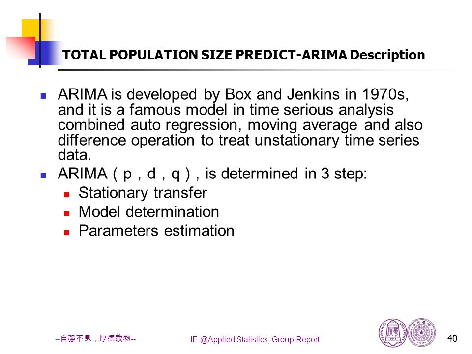 IE @Applied Statistics, Group Report 40 -- 自强不息,厚德载物 -- TOTAL POPULATION SIZE PREDICT-ARIMA Description ARIMA is developed by Box and Jenkins in 1970s, and it is a famous model in time serious analysis combined auto regression, moving average and also difference operation to treat unstationary time series data.
