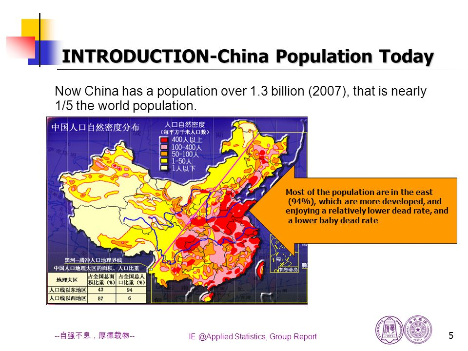 IE @Applied Statistics, Group Report 5 -- 自强不息,厚德载物 -- INTRODUCTION-China Population Today Now China has a population over 1.3 billion (2007), that is nearly 1/5 the world population.