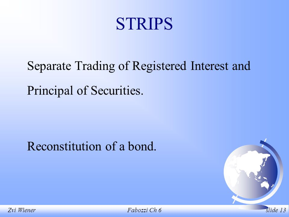 Zvi WienerFabozzi Ch 6 slide 13 STRIPS Separate Trading of Registered Interest and Principal of Securities.