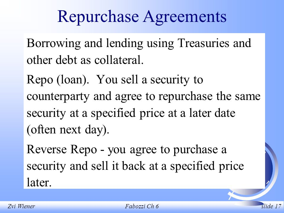 Zvi WienerFabozzi Ch 6 slide 17 Repurchase Agreements Borrowing and lending using Treasuries and other debt as collateral.