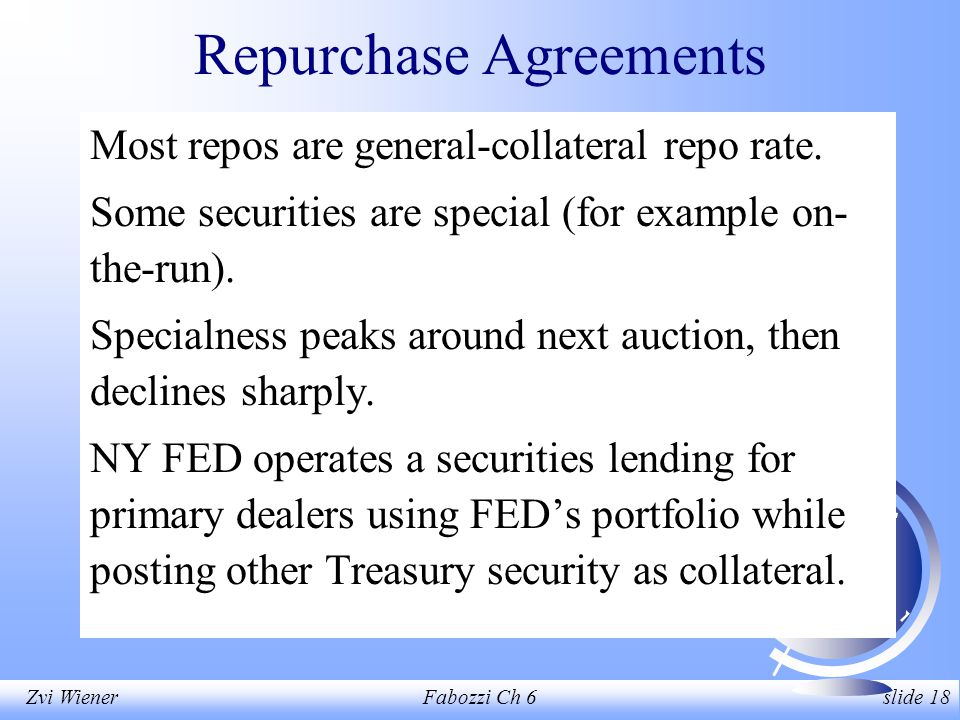 Zvi WienerFabozzi Ch 6 slide 18 Repurchase Agreements Most repos are general-collateral repo rate.