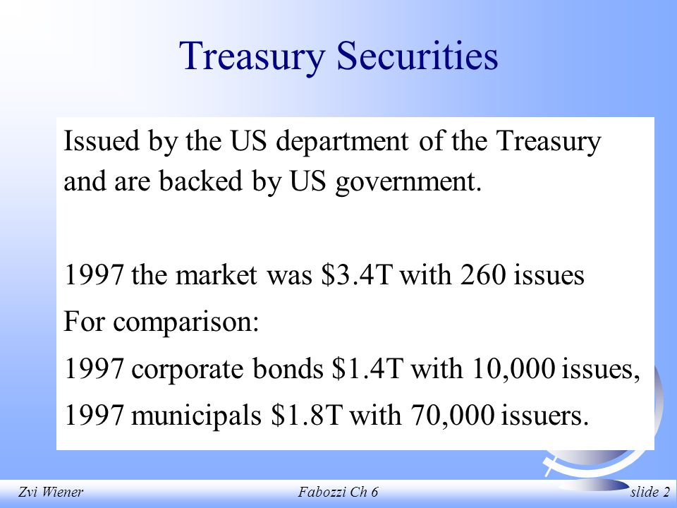 Zvi WienerFabozzi Ch 6 slide 2 Treasury Securities Issued by the US department of the Treasury and are backed by US government.