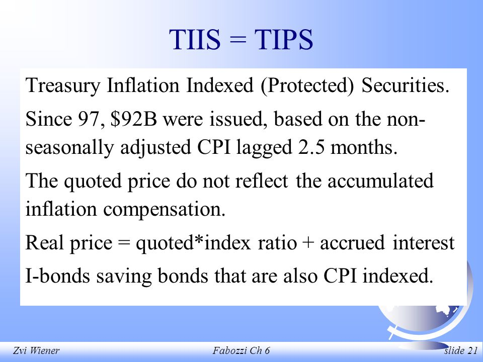 Zvi WienerFabozzi Ch 6 slide 21 TIIS = TIPS Treasury Inflation Indexed (Protected) Securities.