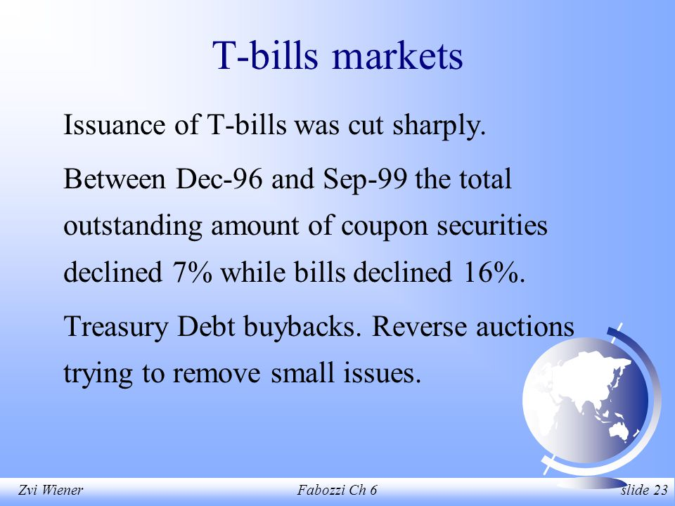 Zvi WienerFabozzi Ch 6 slide 23 T-bills markets Issuance of T-bills was cut sharply.
