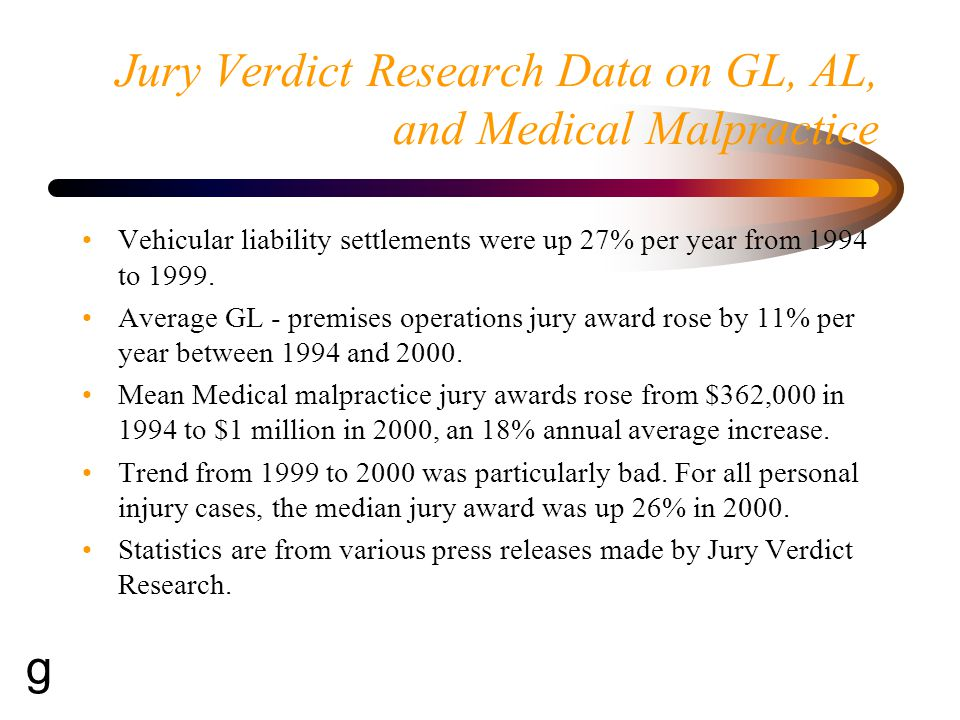 Jury Verdict Research Data on GL, AL, and Medical Malpractice Vehicular liability settlements were up 27% per year from 1994 to 1999.