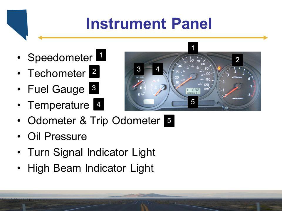 Instrument Panel Speedometer Techometer Fuel Gauge Temperature Odometer & Trip Odometer Oil Pressure Turn Signal Indicator Light High Beam Indicator L