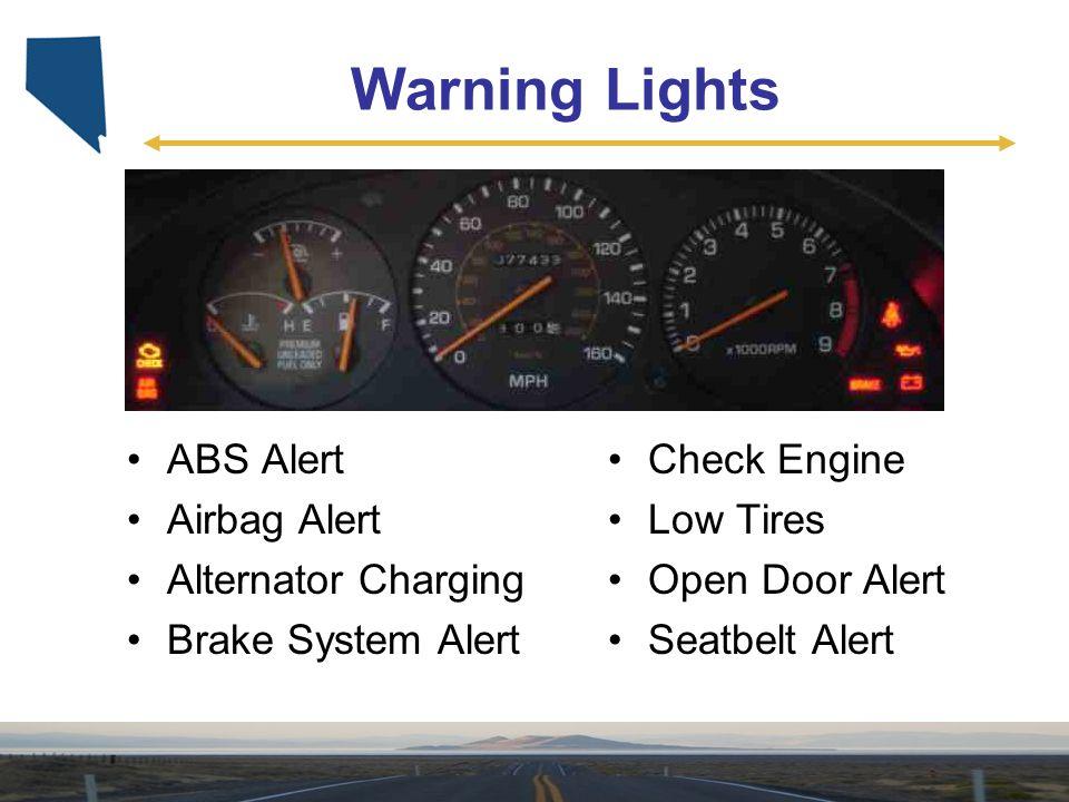 Warning Lights ABS Alert Airbag Alert Alternator Charging Brake System Alert Check Engine Low Tires Open Door Alert Seatbelt Alert