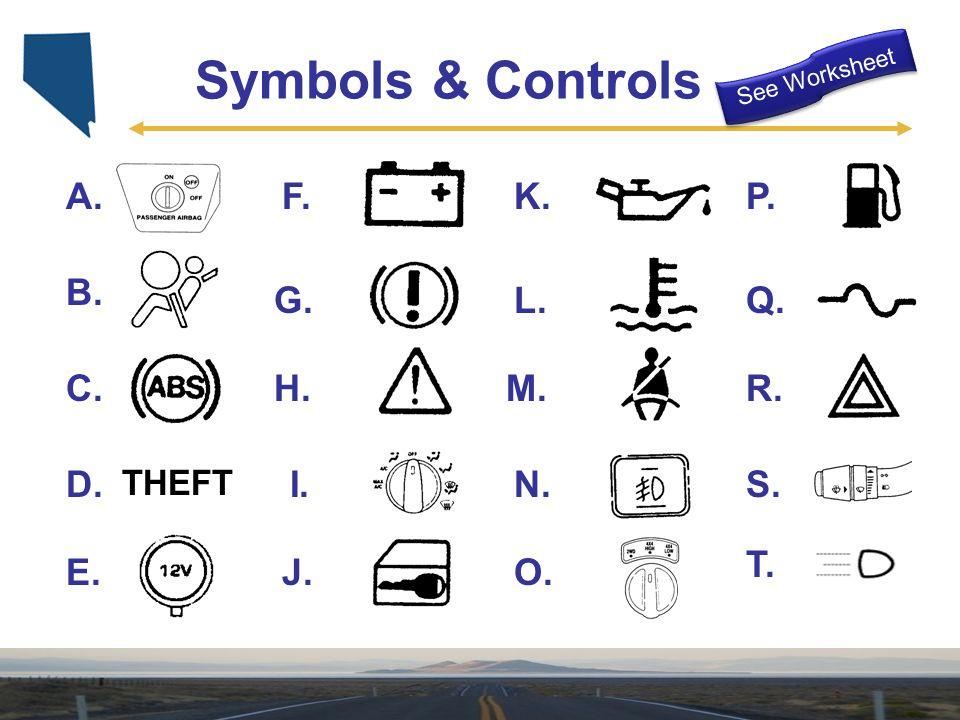 THEFT A. B. C. D. E. N. F. G. H. I. J. L. K. M. O. P. Q. R. S. T. Symbols & Controls See Worksheet