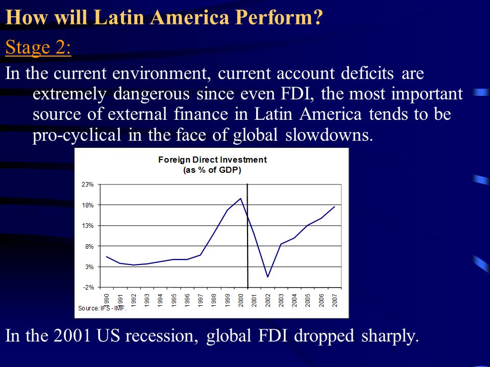 How will Latin America Perform? Stage 2: In the current environment, current account deficits are extremely dangerous since even FDI, the most importa